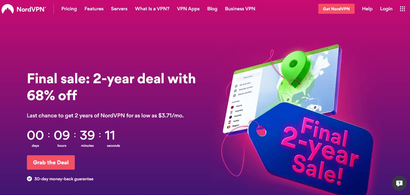 NordVPN's homepage screenshot