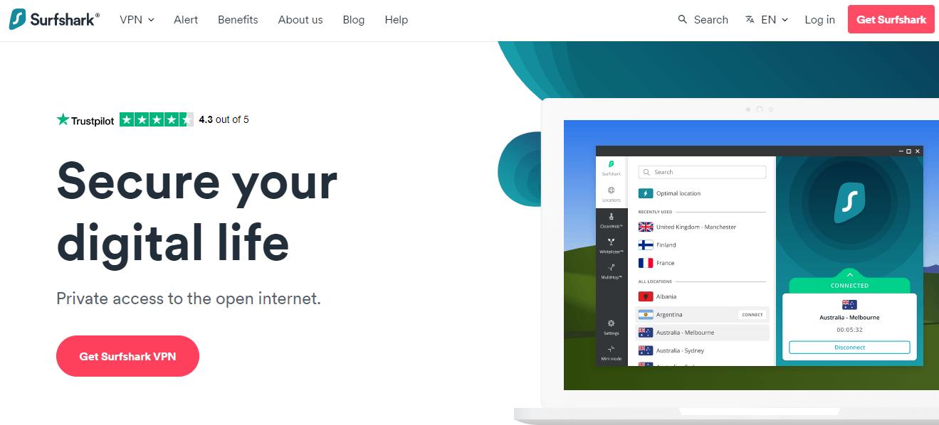 Surfshark's homepage screenshot